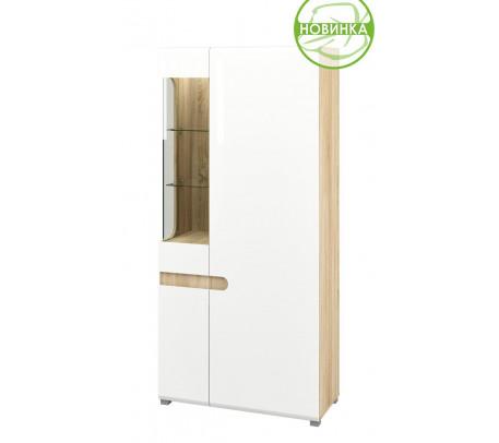 Комбинированный шкаф витрина Леонардо МН-026-19 (белый)