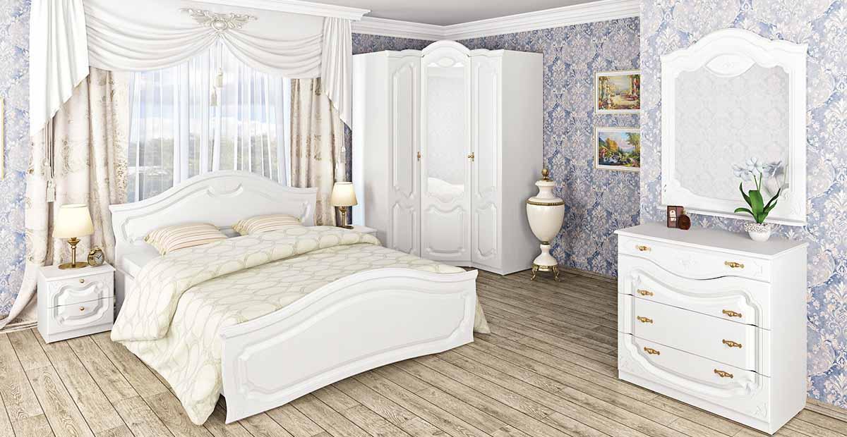 спальня орхидея белая от мебель неман